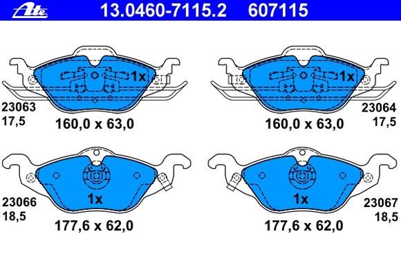 ATE Bremsbeläge: Bremsbeläge 13.0460-7115.2