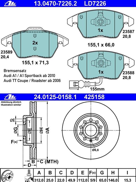 Bremsensatz Audi A1 & Audi TT